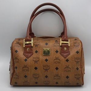Authentic MCM Cognac Visetos Boston Satchel